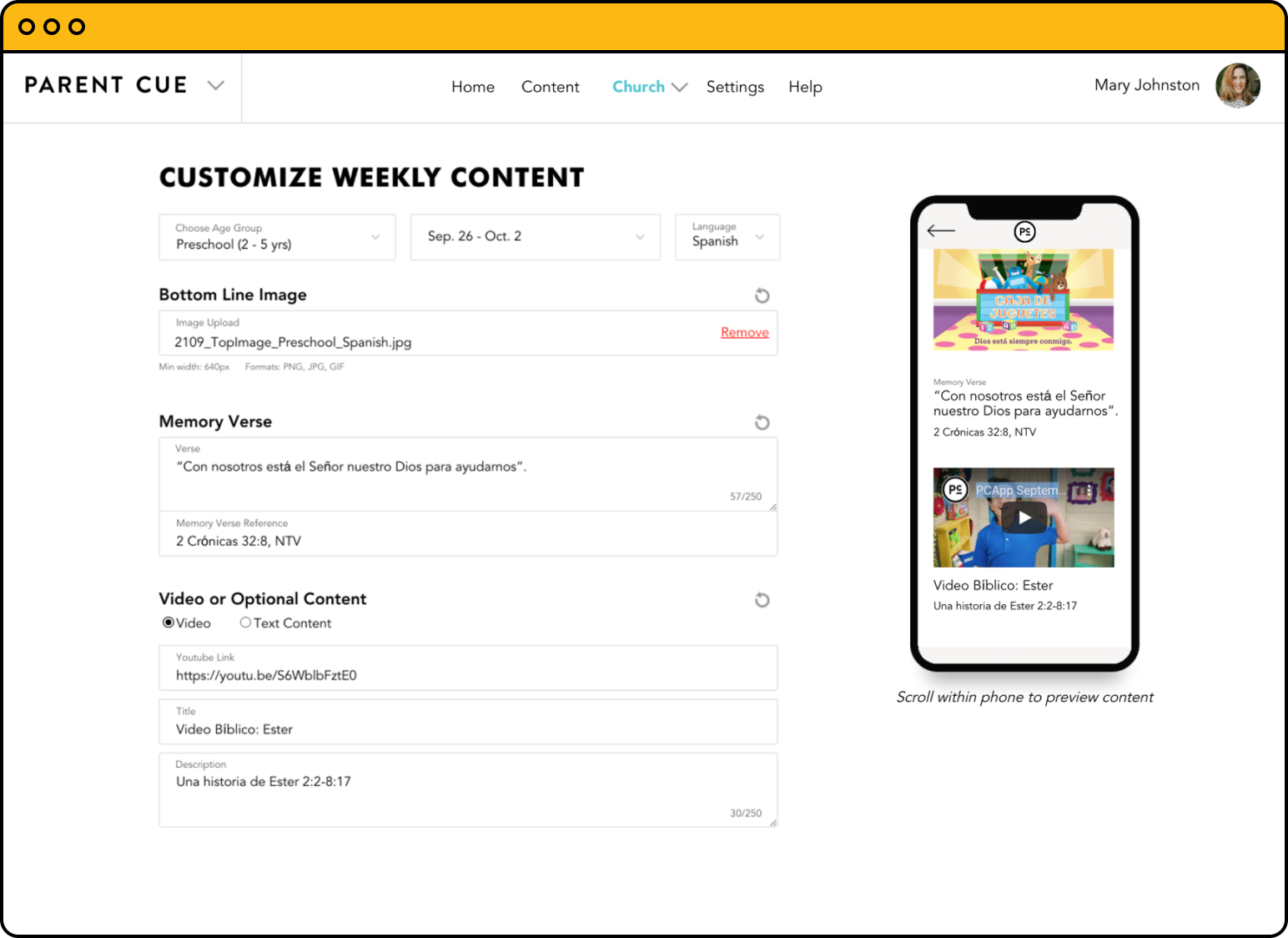 Available in English and Spanish with additional customization for Special Needs allows parents to control the content most relevant to their unique child.